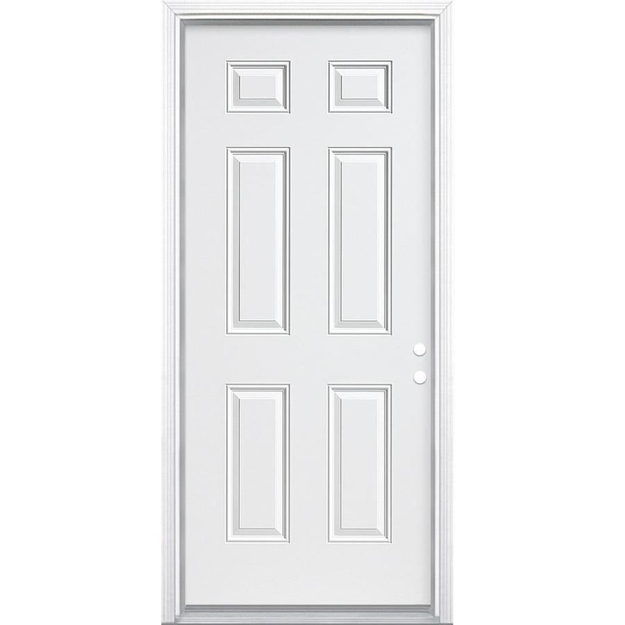 Masonite 6-Panel Insulating Core Left-Hand Inswing Primed Steel Primed Prehung Entry Door (Common: 30-in x 80-in; Actual: 31.5-in x 81.5-in)