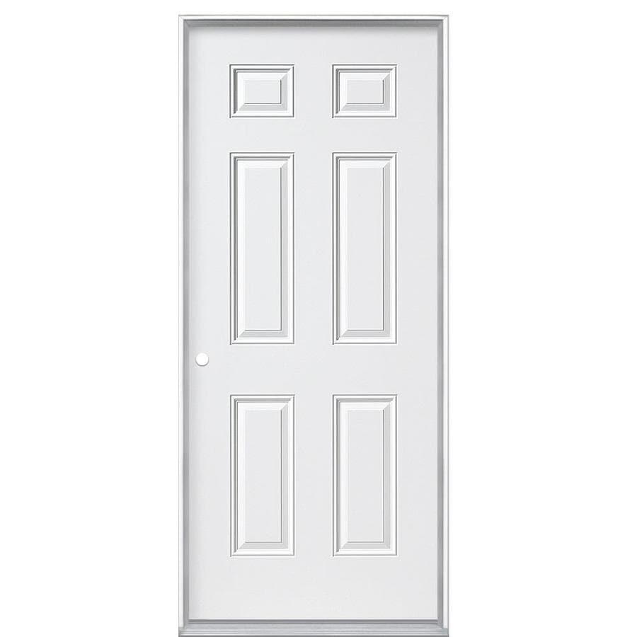 Masonite Decorative Glass Right-Hand Inswing Primed Steel Prehung Double Entry Door with Insulating Core (Common: 32-in x 80-in; Actual: 32-in x 80.0625-in)
