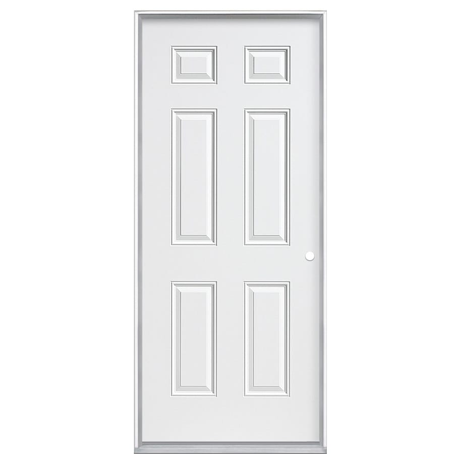Masonite 6-panel Insulating Core Left-Hand Inswing Steel Primed Prehung Entry Door (Common: 32-in x 80-in; Actual: 33.5000-in x 80.3750-in)