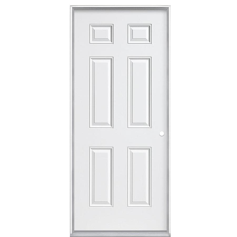 Masonite 6-panel Insulating Core Left-Hand Inswing Steel Primed Prehung Entry Door (Common: 36-in x 80-in; Actual: 37.5000-in x 80.3750-in)