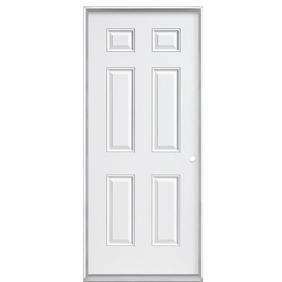 Masonite 6-Panel Insulating Core Left-Hand Inswing Steel Primed Prehung Entry Door (Common: 36-in x 80-in; Actual: 37.5-in x 80.375-in)