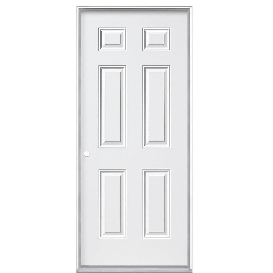 Masonite 6-Panel Insulating Core Right-Hand Inswing Steel Primed Prehung Entry Door (Common: 36-in x 80-in; Actual: 37.5-in x 80.375-in)
