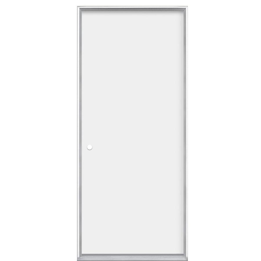 Masonite Flush Insulating Core Right-Hand Inswing Steel Primed Prehung Entry Door (Common: 32-in x 80-in; Actual: 33.5-in x 80.375-in)