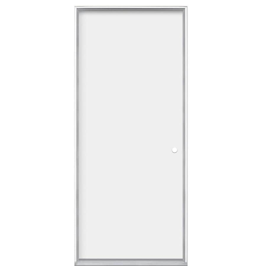 Masonite Flush Insulating Core Left-Hand Inswing Steel Primed Prehung Entry Door (Common: 32-in x 80-in; Actual: 33.5000-in x 80.3750-in)