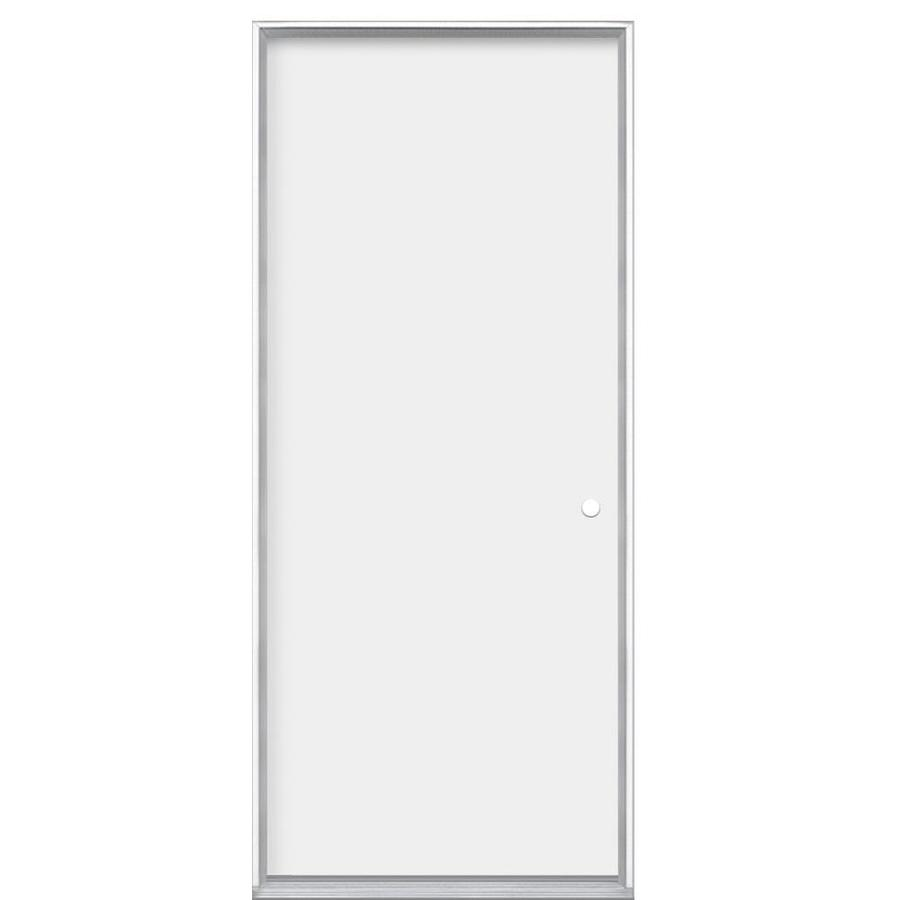 Masonite Flush Insulating Core Left-Hand Inswing Steel Primed Prehung Entry Door (Common: 32-in x 80-in; Actual: 33.5-in x 80.375-in)