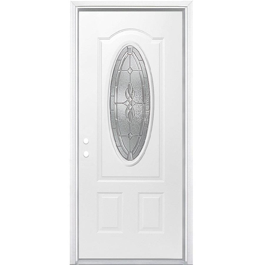 Masonite Hampton 2-Panel Insulating Core Oval Lite Right-Hand Inswing Steel Primed Prehung Entry Door (Common: 36-in x 80-in; Actual: 37.5-in x 81.5-in)