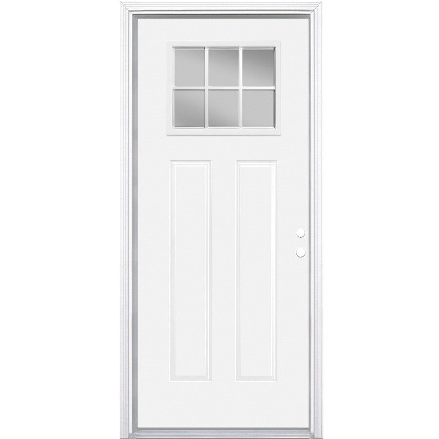 Masonite Left Hand Inswing Primed Steel Entry Door With Insulating