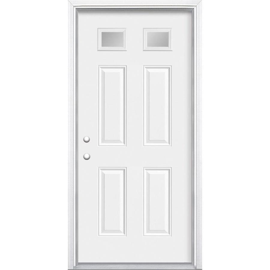 Shop Masonite 1 4 Lite Clear Glass Right Hand Inswing Primed Steel Prehung Double Entry Door