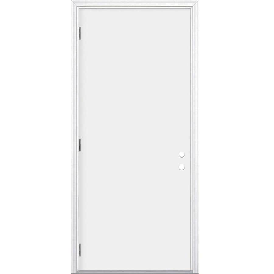 Masonite Decorative Glass Right-Hand Outswing Primed Steel Prehung Double Entry Door with Insulating Core (Common: 36-in x 80-in; Actual: 37.5-in x 80.375-in)