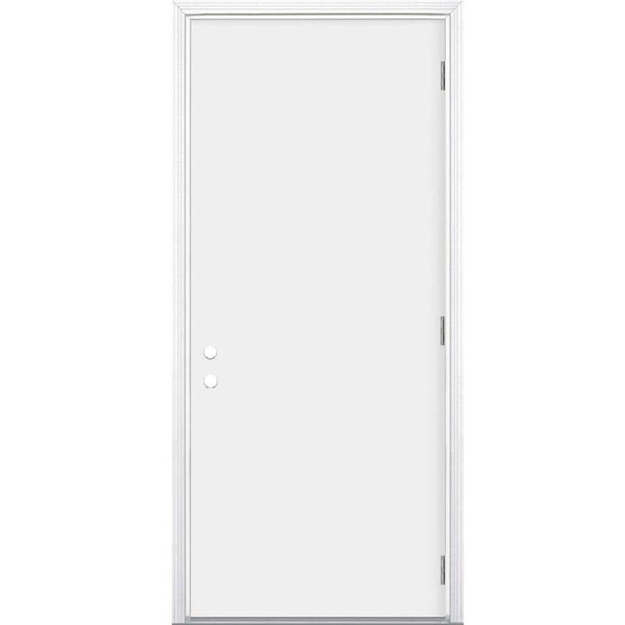 Masonite Flush Insulating Core Left-Hand Outswing Steel Primed Prehung Entry Door (Common: 36-in x 80-in; Actual: 37.5-in x 80.375-in)