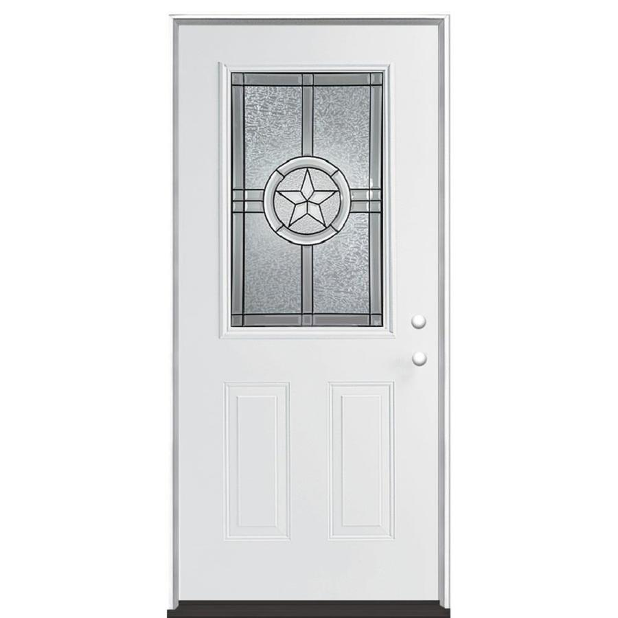 Masonite Radiant Star Decorative Glass Left-Hand Inswing Primed Steel Prehung Double Entry Door with Insulating Core (Common: 36-in x 80-in; Actual: 37.5-in x 81.625-in)