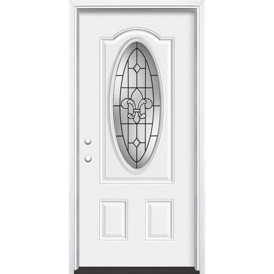 Masonite Nola Decorative Glass Right-Hand Inswing Steel Primed Entry Door (Common: 32-in x 80-in; Actual: 33.5-in x 81.5-in)