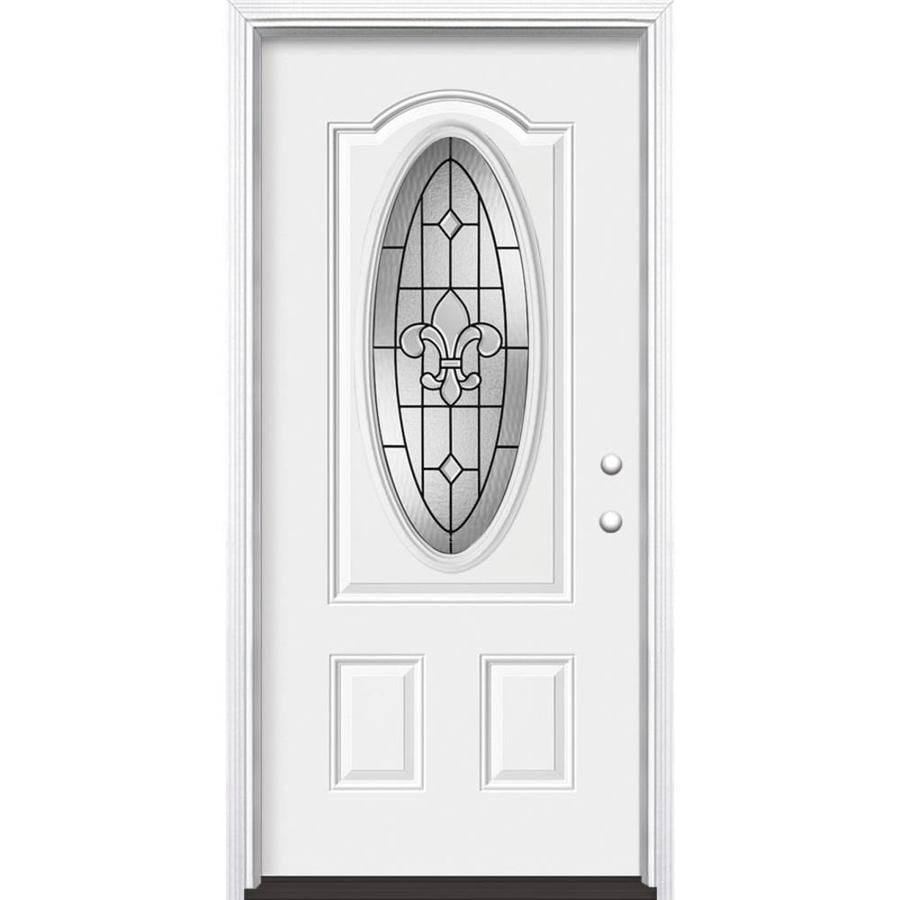 Masonite Nola 2-Panel Insulating Core Oval Lite Left-Hand Inswing Steel Primed Prehung Entry Door (Common: 32-in x 80-in; Actual: 33.5-in x 81.5-in)
