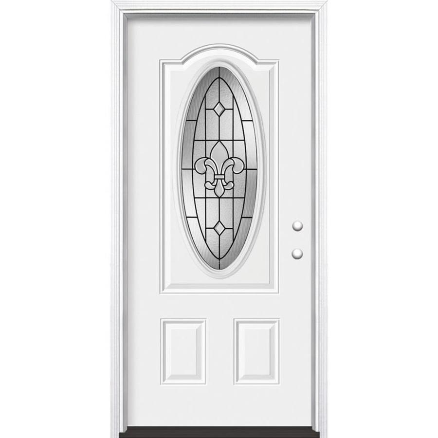 Masonite Nola 2-panel Insulating Core Oval Lite Left-Hand Inswing Steel Primed Prehung Entry Door (Common: 36-in x 80-in; Actual: 37.5000-in x 81.5000-in)