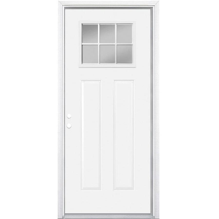 Masonite Decorative Glass Right-Hand Inswing Primed Steel Prehung Double Entry Door with Insulating Core (Common: 32-in x 80-in; Actual: 33.5-in x 81.625-in)