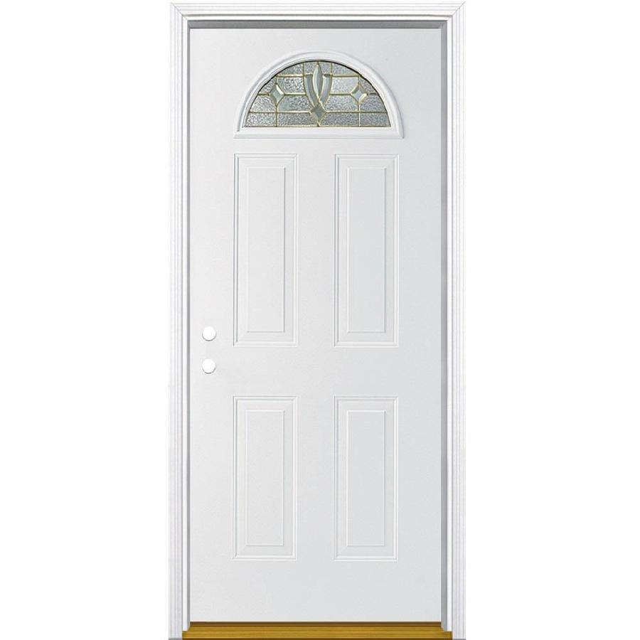 Masonite Laurel Decorative Glass Right-Hand Inswing Primed Steel Prehung Double Entry Door with Insulating Core (Common: 32-in x 80-in; Actual: 33.5-in x 81.625-in)