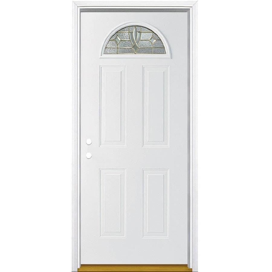 Masonite Laurel 4-Panel Insulating Core Fan Lite Right-Hand Inswing Steel Primed Prehung Entry Door (Common: 32-in x 80-in; Actual: 33.5-in x 81.5-in)