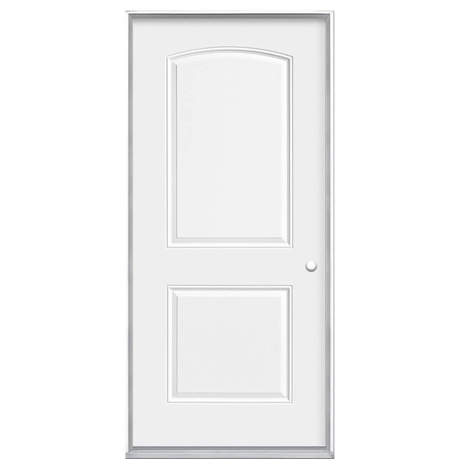 Masonite Left-Hand Inswing Primed Steel Prehung Double Entry Door with Insulating Core (Common: 36-in x 80-in; Actual: 36-in x 80.0625-in)