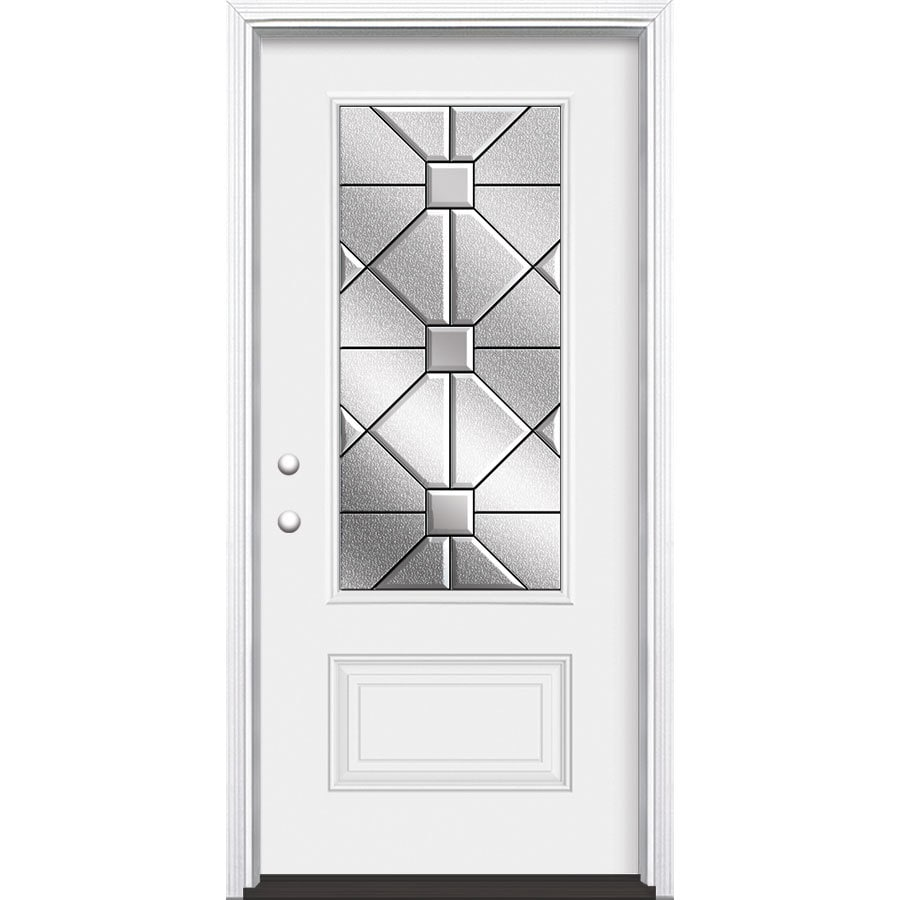 Masonite Hancock Decorative Glass Right-Hand Inswing Primed Steel Prehung Entry Door with Insulating Core (Common: 36-in x 80-in; Actual: 37.5-in x 81.625-in)