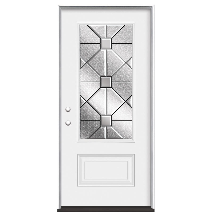 Masonite Hancock 1-Panel Insulating Core 3/4 Lite Right-Hand Inswing Steel Primed Prehung Entry Door (Common: 36-in x 80-in; Actual: 37.5-in x 81.5-in)