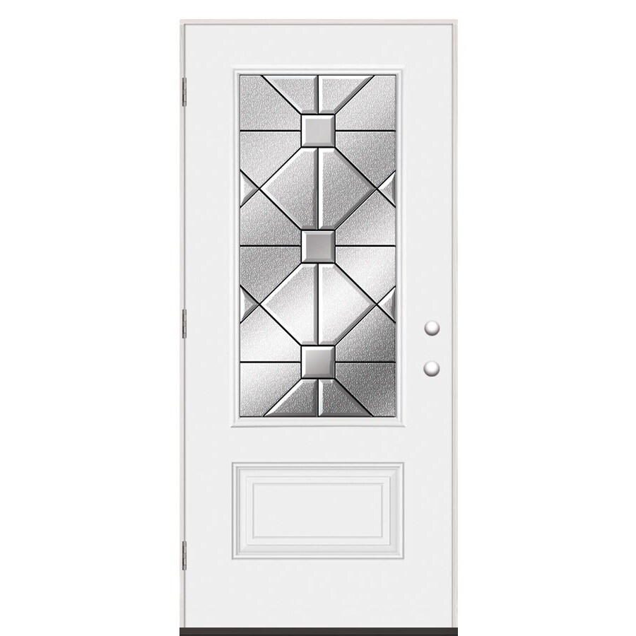 Shop Masonite Hancock Decorative Glass Right Hand Outswing Primed Steel Prehung Entry Door With
