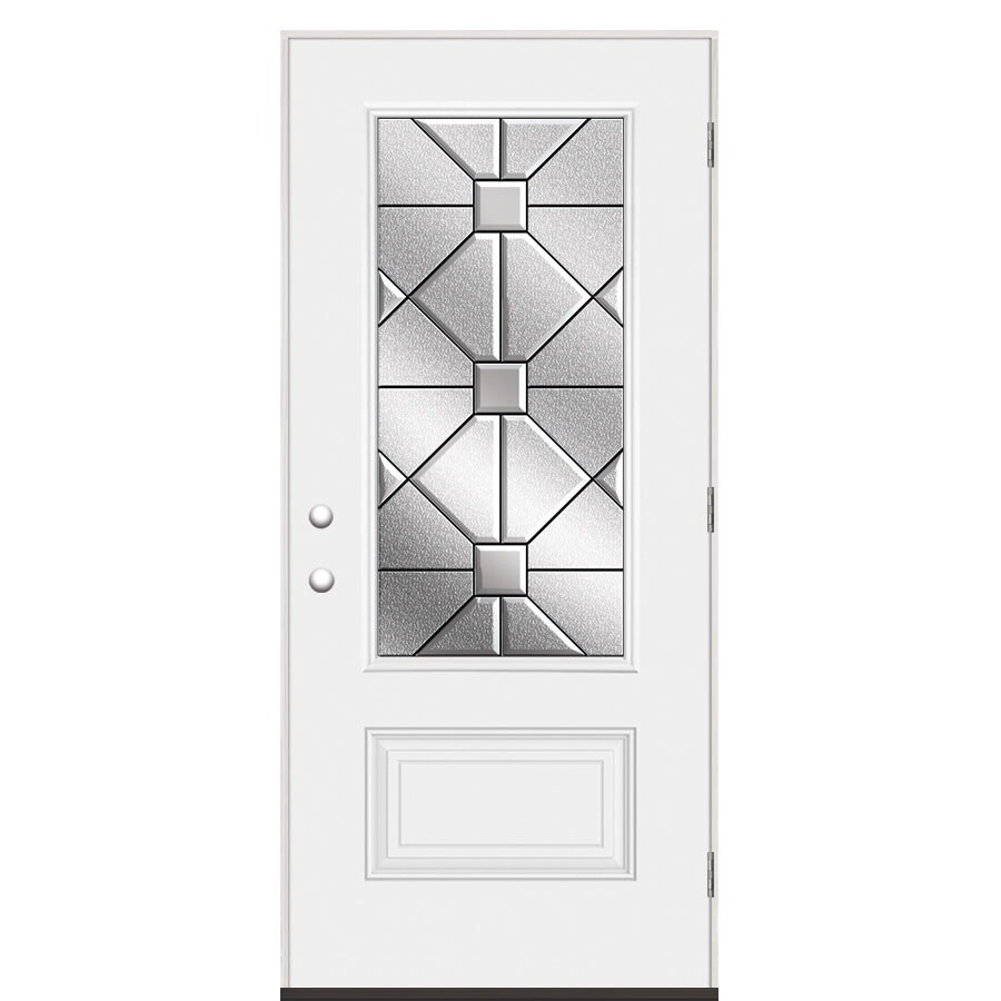 Masonite Hancock Left-Hand Outswing Steel Primed Entry Door (Common: 36-in x 80-in; Actual: 37.5-in x 80.375-in)