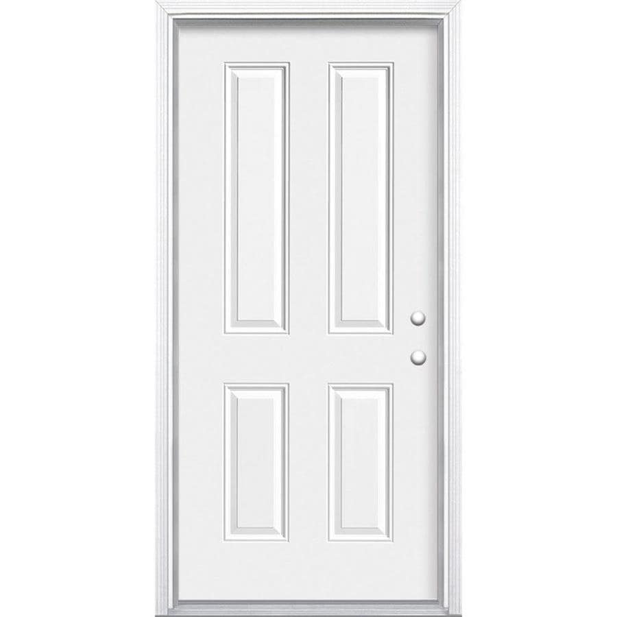 Masonite 4-panel Insulating Core Left-Hand Inswing Steel Primed Prehung Entry Door (Common: 32-in x 80-in; Actual: 33.5000-in x 81.5000-in)