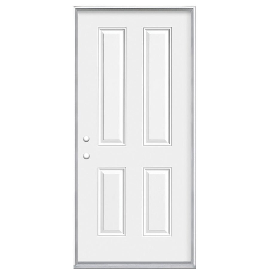 Masonite 4-panel Insulating Core Right-Hand Inswing Steel Primed Prehung Entry Door (Common: 32-in x 80-in; Actual: 33.5000-in x 81.5000-in)