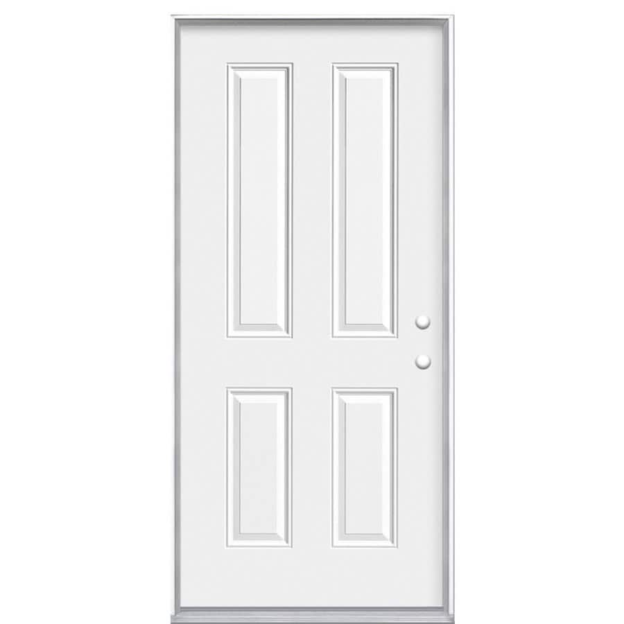 Masonite Decorative Glass Left-Hand Inswing Steel Primed Entry Door (Common: 32-in x 80-in; Actual: 33.5-in x 81.5-in)