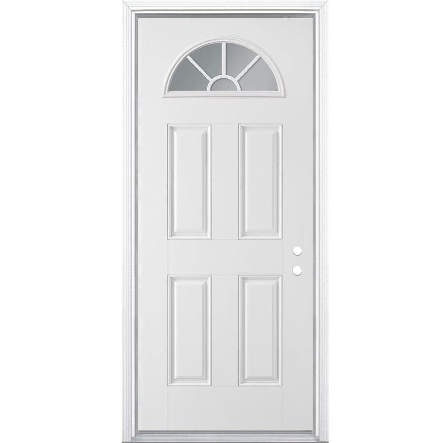Shop masonite left hand inswing steel primed entry door for Upvc front door 78 x 30