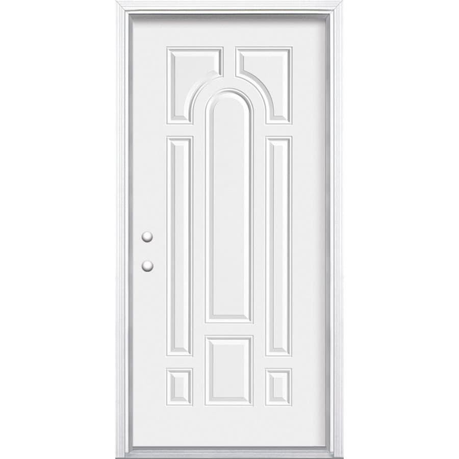 Masonite Decorative Glass Right-Hand Inswing Steel Primed Entry Door (Common: 36-in x 80-in; Actual: 37.5-in x 81.5-in)