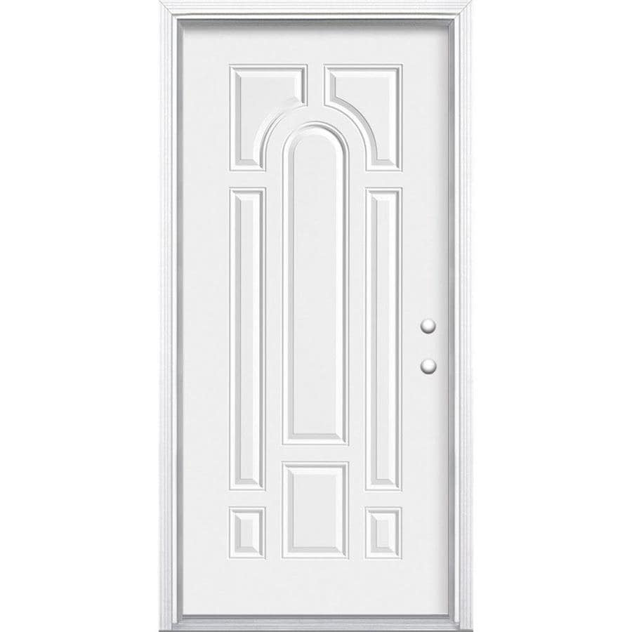 Masonite 8-Panel Insulating Core Left-Hand Inswing Steel Primed Prehung Entry Door (Common: 36-in x 80-in; Actual: 37.5-in x 81.5-in)