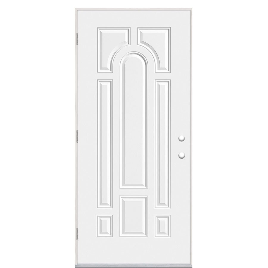 Masonite Decorative Glass Right-Hand Outswing Primed Steel Prehung Double Entry Door with Insulating Core (Common: 32-in x 80-in; Actual: 33.5-in x 80.375-in)