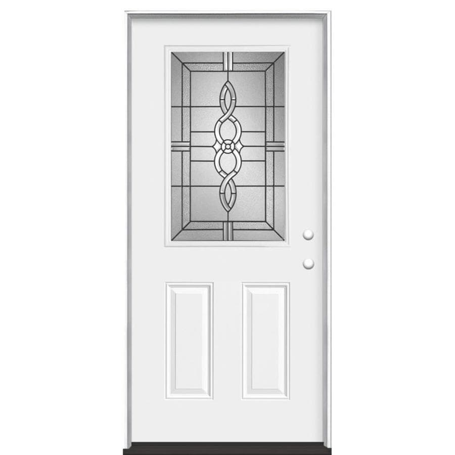 Masonite Calista Decorative Glass Left Hand Inswing Primed Steel Prehung Entry Door With Insulating Core