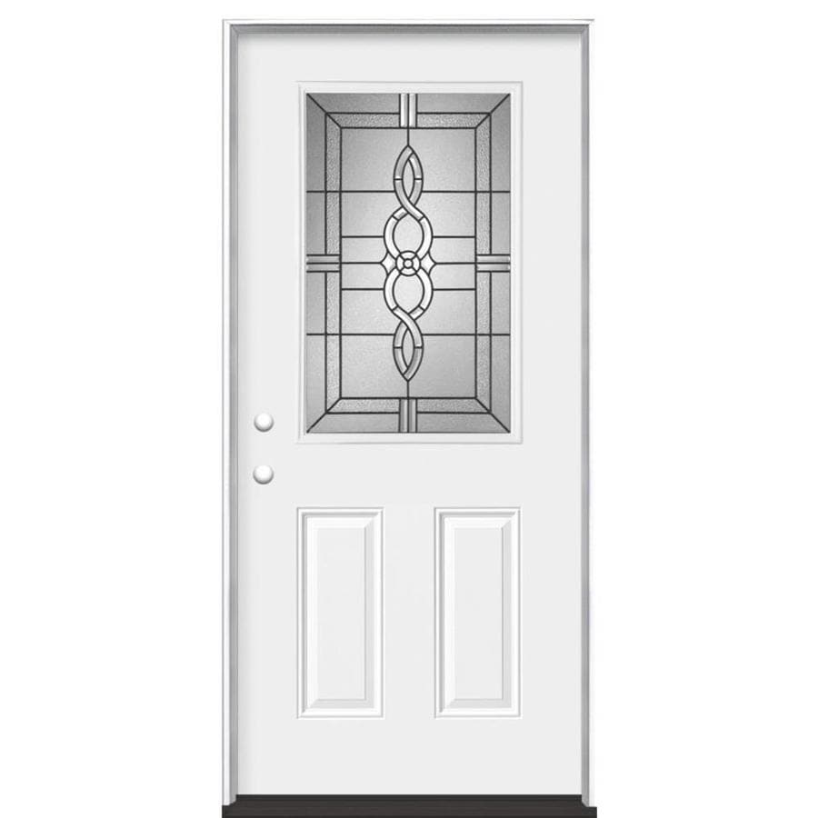 Masonite Calista 2-Panel Insulating Core Half Lite Right-Hand Inswing Steel Primed Prehung Entry Door (Common: 36-in x 80-in; Actual: 37.5-in x 81.5-in)