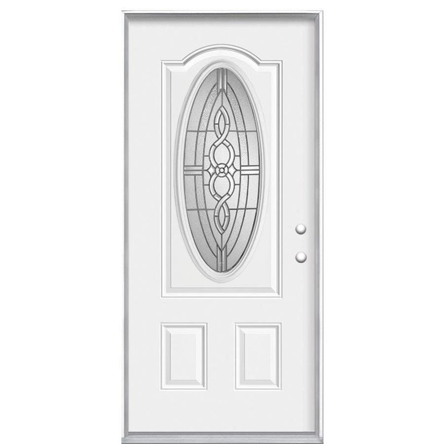 Masonite Calista Decorative Glass Left-Hand Inswing Primed Steel Prehung Entry Door with Insulating Core (Common: 36-in x 80-in; Actual: 37.5-in x 81.625-in)