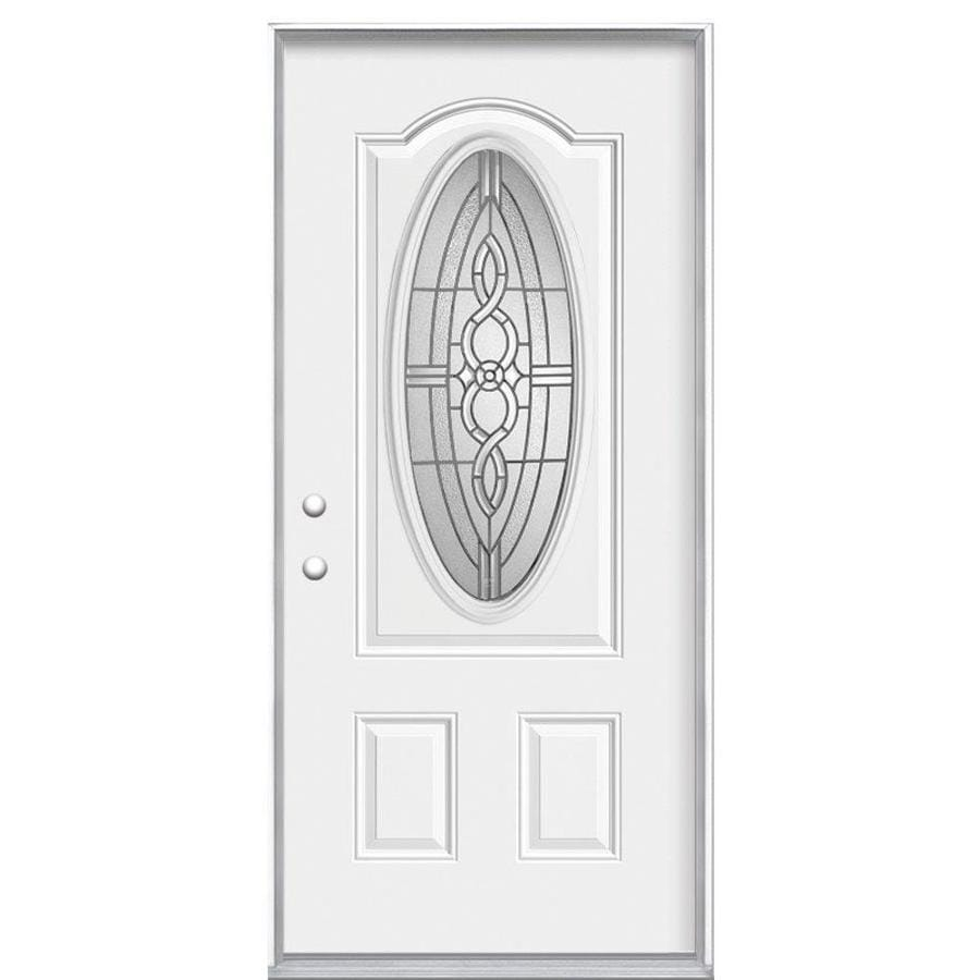 Masonite Calista 2-Panel Insulating Core Oval Lite Right-Hand Inswing Steel Primed Prehung Entry Door (Common: 36-in x 80-in; Actual: 37.5-in x 81.5-in)