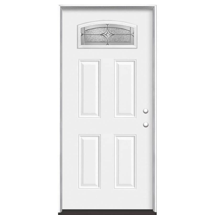 Masonite Astrid Decorative Glass Left Hand Inswing Primed Steel Prehung Entry Door With Insulating Core