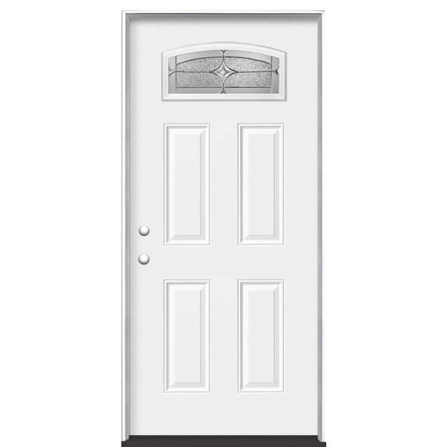 Masonite Astrid Decorative Glass Right-Hand Inswing Primed Steel Prehung Entry Door with Insulating Core (Common: 36-in x 80-in; Actual: 37.5-in x 81.625-in)