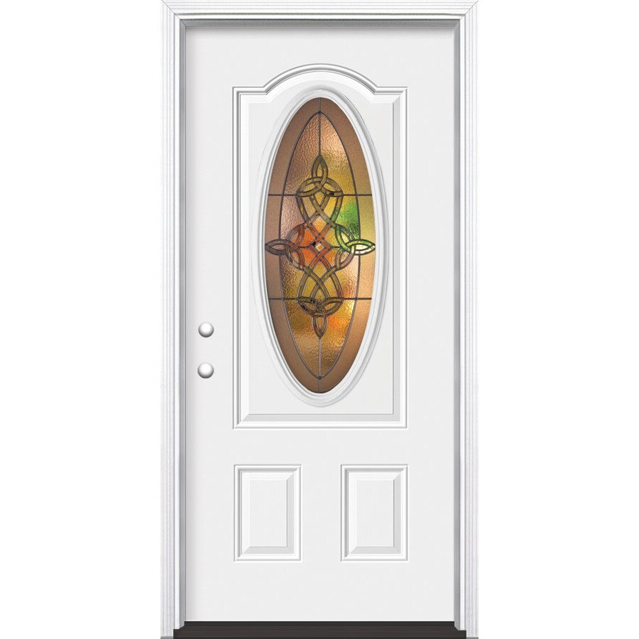 Masonite Dylan Decorative Glass Right-Hand Inswing Primed Steel Prehung Entry Door with Insulating Core (Common: 36-in x 80-in; Actual: 37.5-in x 81.625-in)