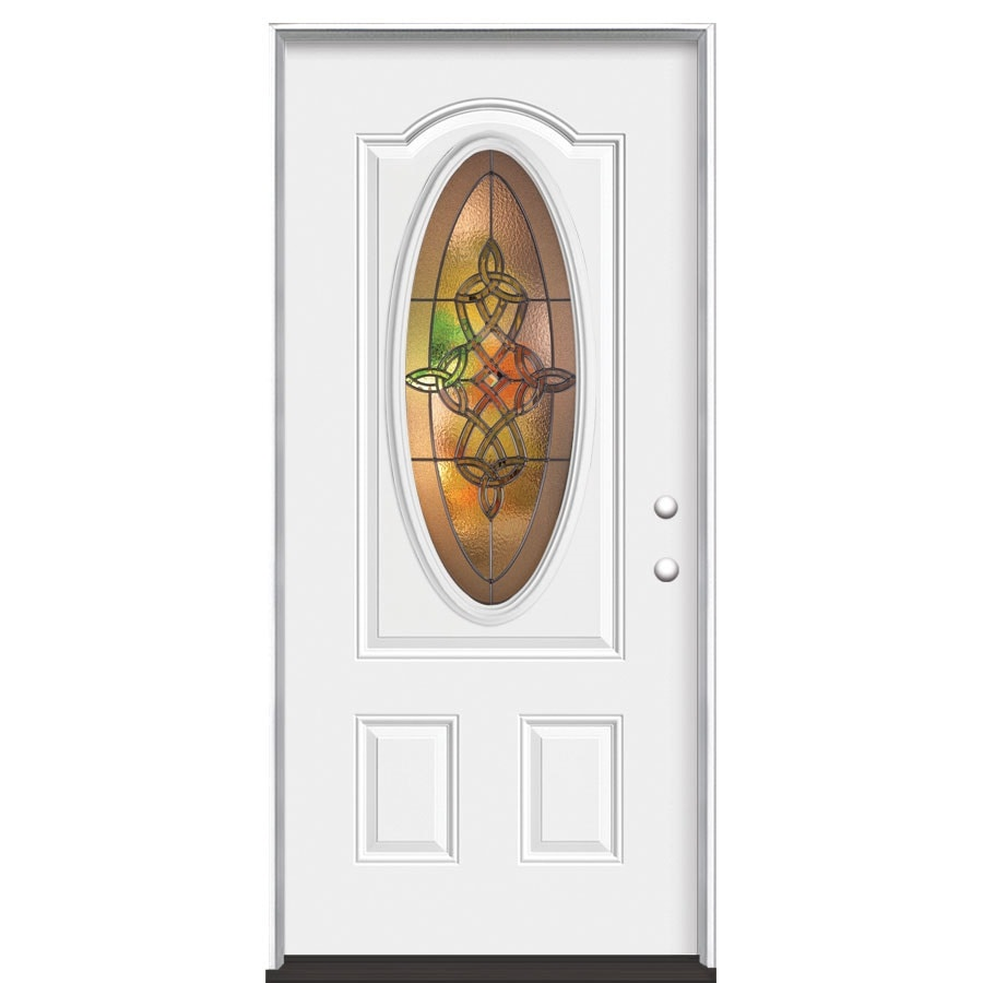 Masonite Dylan Decorative Glass Left-Hand Inswing Primed Steel Prehung Entry Door with Insulating Core (Common: 36-in x 80-in; Actual: 37.5-in x 81.625-in)