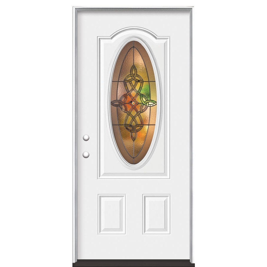 Masonite Dylan 2-Panel Insulating Core Oval Lite Right-Hand Inswing Steel Primed Prehung Entry Door (Common: 36-in x 80-in; Actual: 37.5-in x 81.5-in)