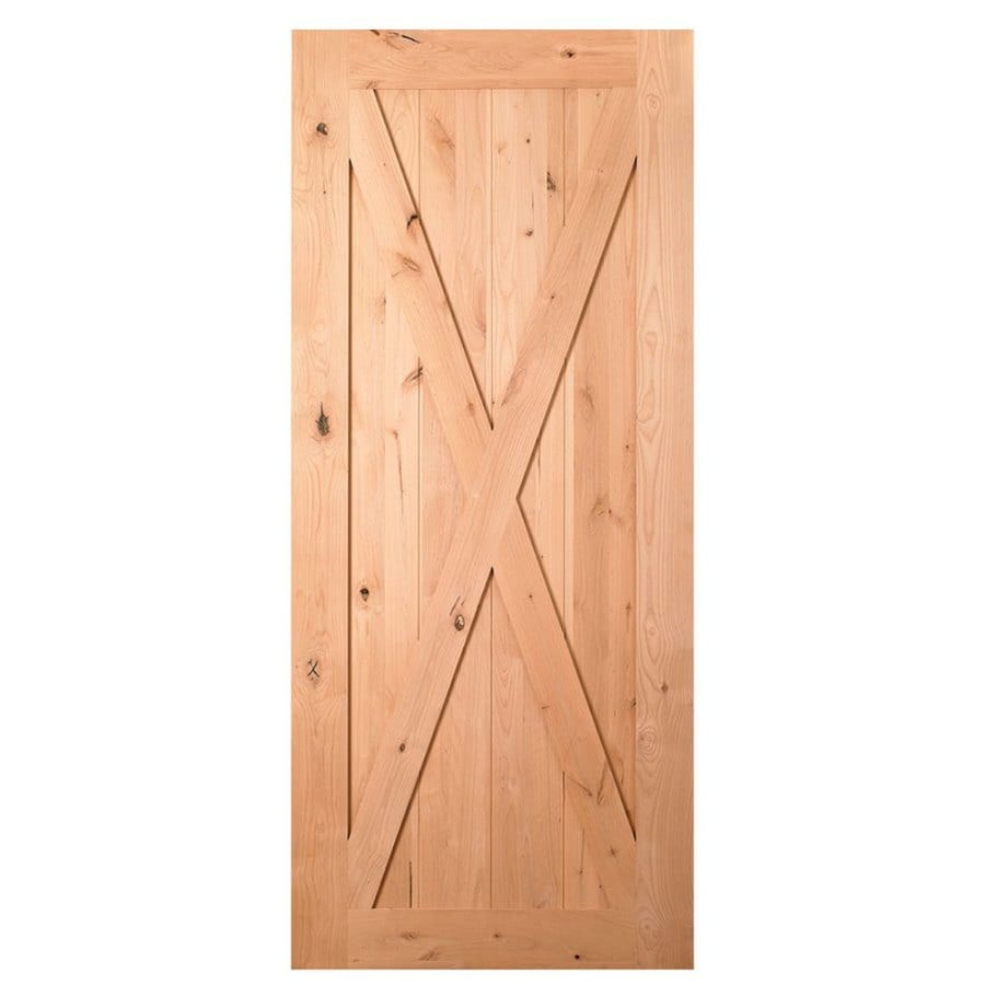 Masonite Natural Unfinished Crossbuck Wood Knotty Alder Barn Door (Common:  36 In X