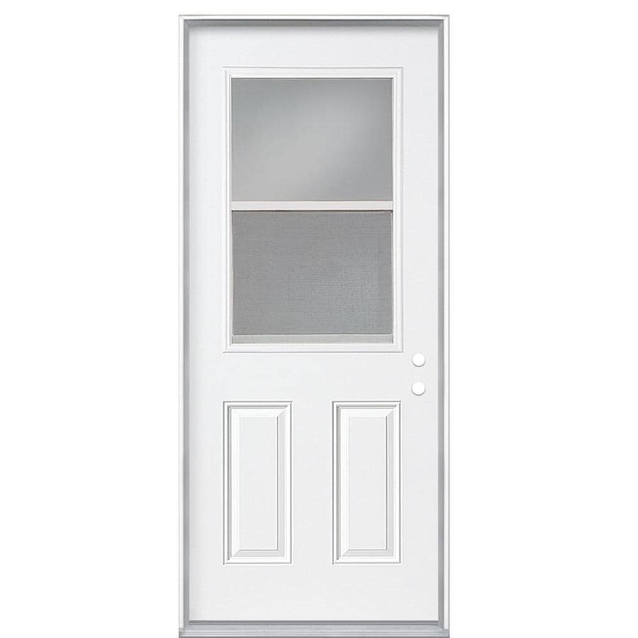 Shop Masonite Clear Glass Left Hand Inswing Primed Steel Prehung Entry Door With Insulating Core