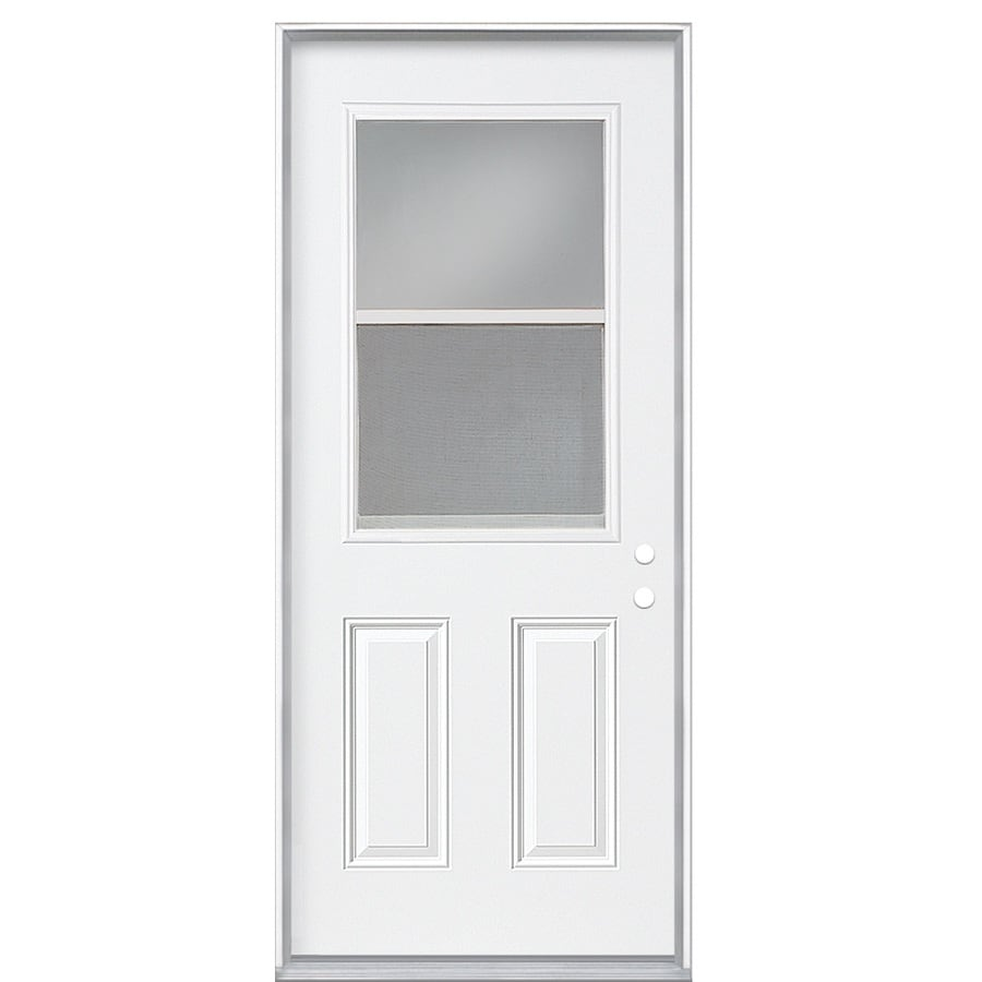 Masonite Clear Glass Left-Hand Inswing Primed Steel Prehung Entry Door with Insulating Core (Common: 36-in x 80-in; Actual: 37.5-in x 81.625-in)
