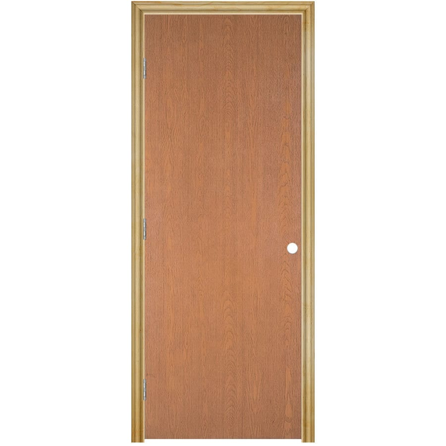 Masonite Prehung Hollow Core Flush Hardwood Interior Door (Common: 32-in x 80-in; Actual: 33.75-in x 81.75-in)