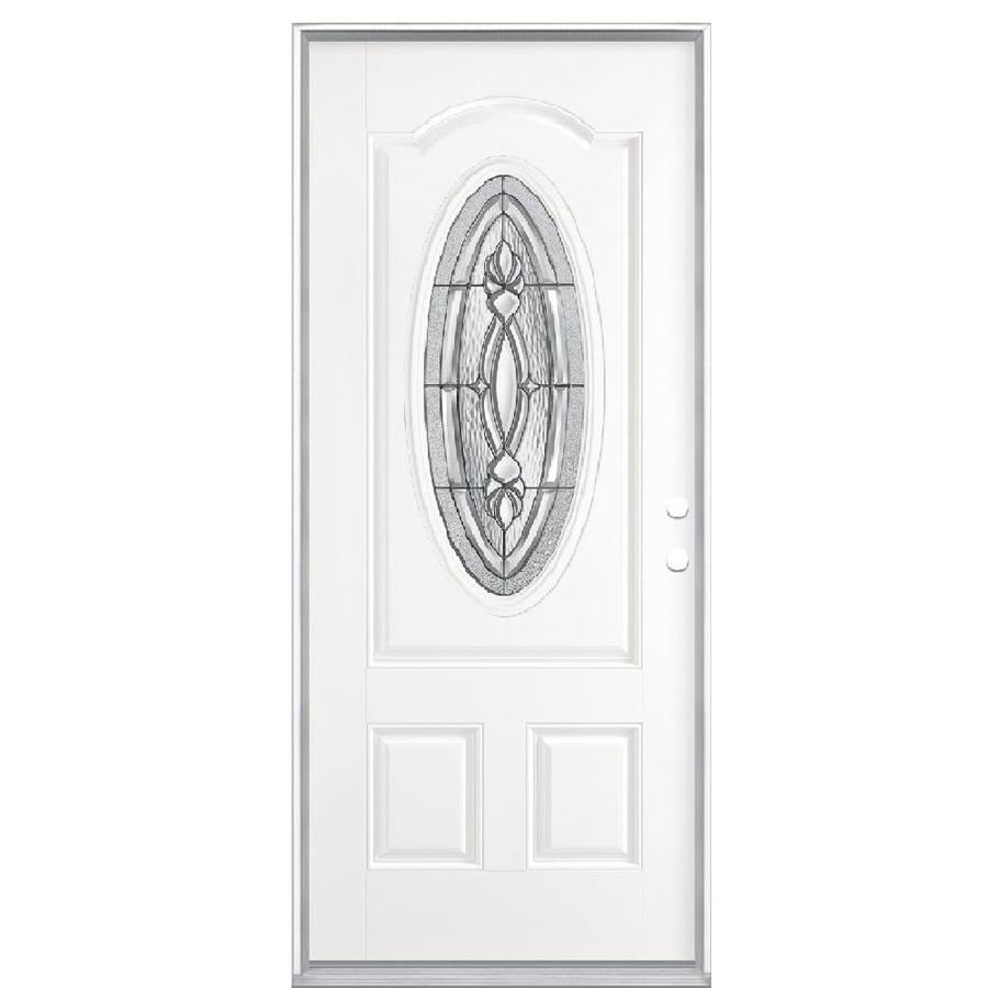 Masonite Panama 2-panel Insulating Core Oval Lite Left-Hand Inswing Fiberglass Primed Prehung Entry Door (Common: 36-in x 80-in; Actual: 37.5-in x 81.5-in)