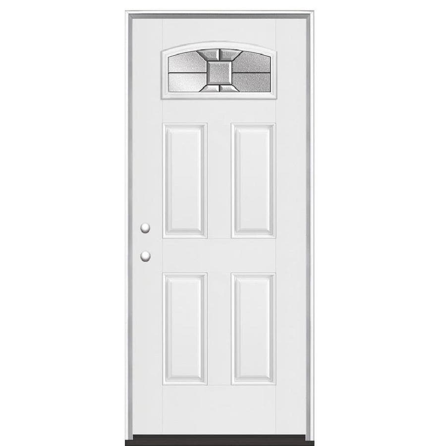 Masonite Hancock 4-panel Insulating Core Morelight Right-Hand Inswing Fiberglass Primed Prehung Entry Door (Common: 36-in x 80-in; Actual: 37.5-in x 81.5-in)