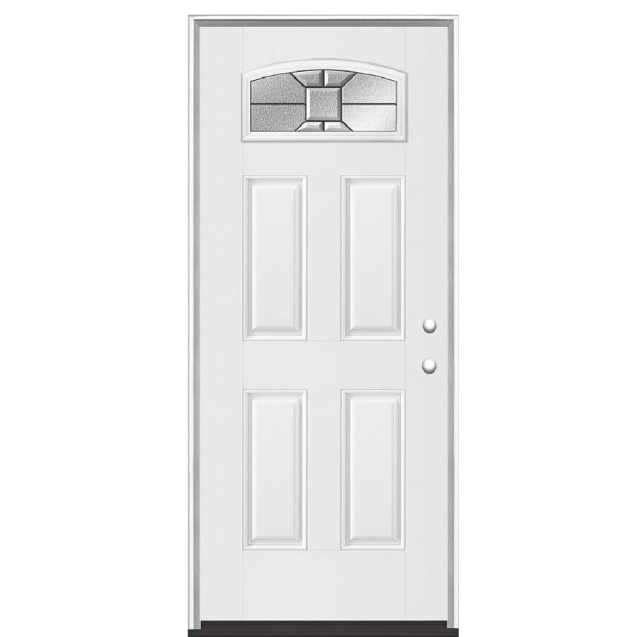 Masonite Hancock Left-Hand Inswing Fiberglass Primed Entry Door (Common: 36-in x 80-in; Actual: 37.5-in x 81.5-in)