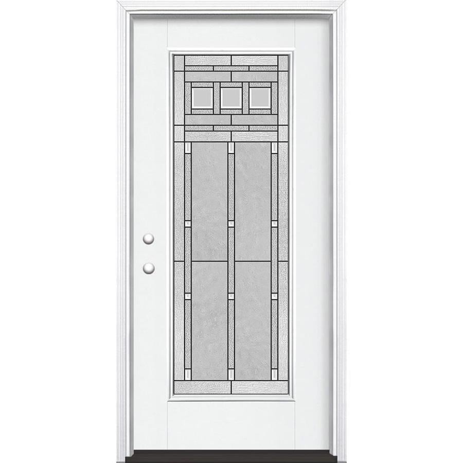 Masonite Craftsman Glass Flush Insulating Core Full Lite Right-Hand Inswing Artic White Fiberglass Painted Prehung Entry Door (Common: 36-in x 80-in; Actual: 37.5-in x 81.5-in)